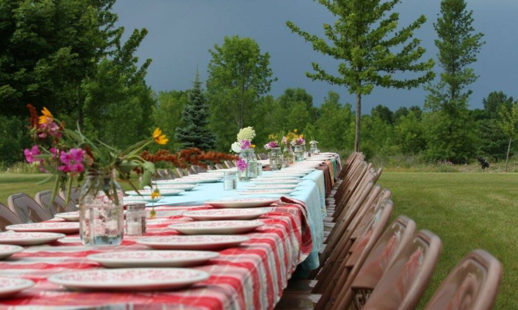 table set at outdoor wedding